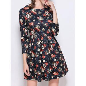 Retro Print High Waist Mini Dress -