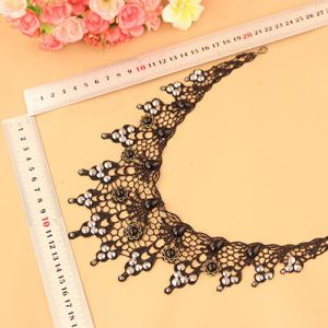 Gothic Style Cut Out Lace Faux Gem Rhinestone Necklace -