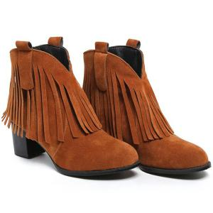 Suede Zipper Fringe Ankle Boots -
