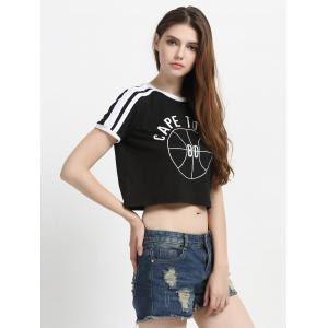 Two-Tone Letter Boxy Crop Top T-Shirt -