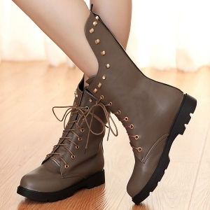 Rivet Lace Up Flat Mid Calf Boots -