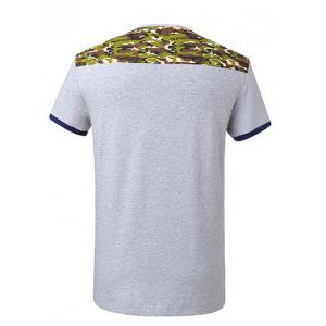 V-Neck Short Sleeve Camo Spliced T-Shirt ODM Designer -