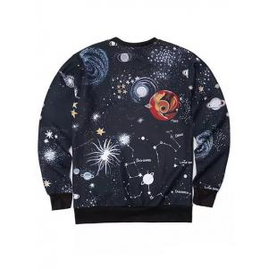 Round Neck 3D Outer Space Print Long Sleeve Sweatshirt - BLACK XL