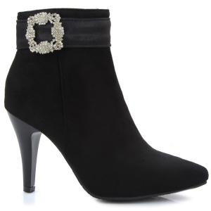 Suede point Toe Bottes strass cheville -