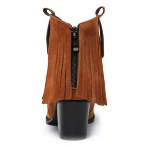 Suede Zipper Fringe Ankle Boots - BROWN 39