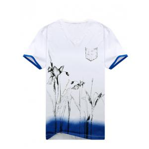 Floral Painting V-Neck Short Sleeve T-Shirt ODM Designer -