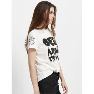 Two-Tone Letter Print T-Shirt -