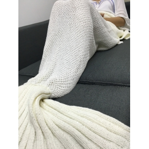 Paillette Decor Warmth Knitted Mermaid Tail Design Blanket -