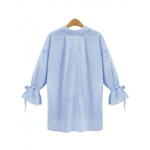 Vertical Stripe Irregular Loose Blouse -