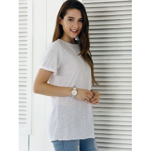 Casual Solid Color Eyelet Long T-Shirt - WHITE XL