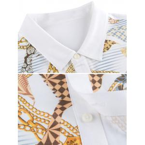 Chains Print Turn-down Collar Short Sleeve Shirt ODM Designer - WHITE 2XL