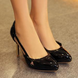 Patent Leather Hollow Out Bow Pumps -