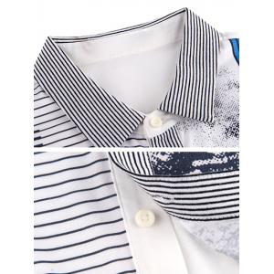 Pinstriped Button-Up Turn-down Collar Short Sleeve Shirt ODM Designer - WHITE 2XL