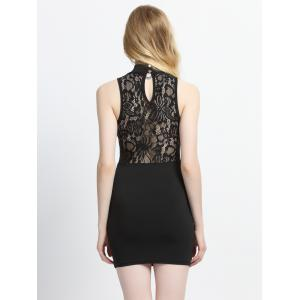 Sleeveless Lace Hollow Out Bodycon Dress - BLACK M