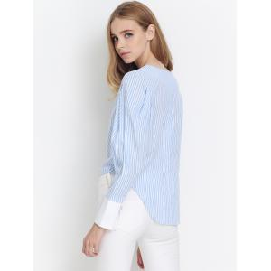 Preppy Stripe Back Zipper Puff Sleeve Asymmetric Blouse - AZURE XL