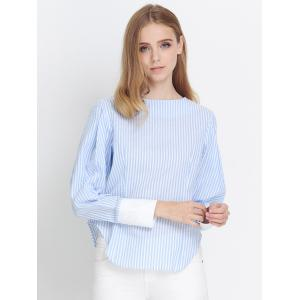 Preppy Stripe Back Zipper Puff Sleeve Asymmetric Blouse - AZURE 2XL