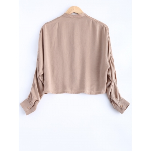 Batwing Sleeves Buttoned Bow Design Blouse -