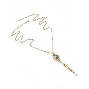 Faux Turquoise Engraved Geometric Sweater Chain -