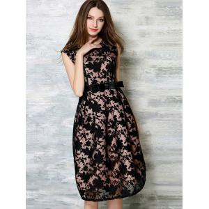 Belted Sleeveless Printed Splicing Dress - BLACK XL