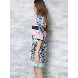 Tribe Multicolor Print Short Sleeve Dress - COLORMIX 2XL