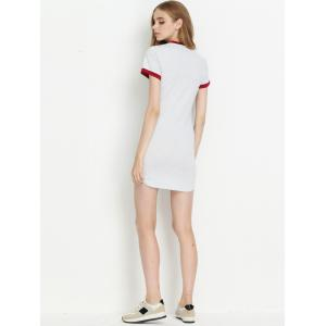 Two-Tone Pocket Tipped T-Shirt Dress -