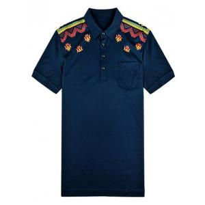 Turn-Down Collar Abstract Printed Polo Shirt ODM Designer - PURPLISH BLUE 3XL