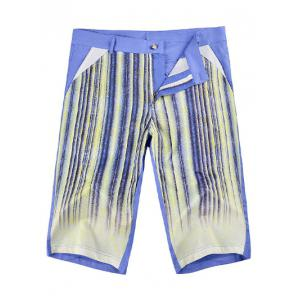Zipper Fly Striped Knee Length Shorts ODM Designer - BLUE 36