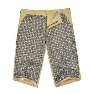 Zipper Fly Imprimer épissage genou Shorts -