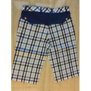 Zipper Fly Plaid Denim Spliced Knee Length Shorts ODM Designer -