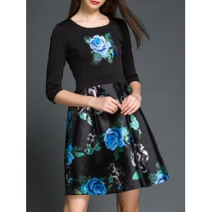 Rose Floral Print Fake Twinset A Line Dress - BLACK 2XL