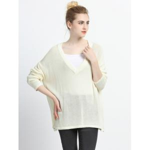 Pure Color Plunging Neck Knitted Pullover -