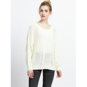 V-Neck Pure Color Textured Pullover -
