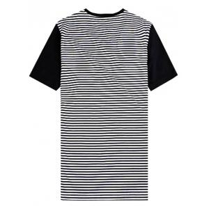 V-Neck Building Printed Striped Spliced T-Shirt ODM Designer -