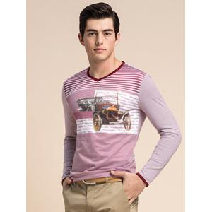 Striped 3D Vintage Car Print V-Neck Long Sleeve T-Shirt ODM Designer -