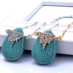 Teardrop Natural Stone Geometric Rhinestone Necklace -