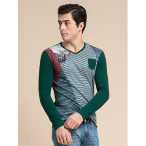 Striped 3D Car Print V-Neck Long Sleeve T-Shirt ODM Designer - GREEN 3XL