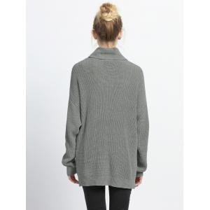 Turtle Neck High Low Pure Color Sweater - GRAY XL