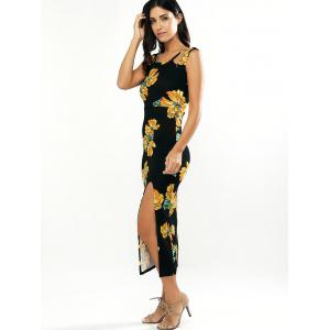 Hollow Out Floral Print High-Slit Dress -