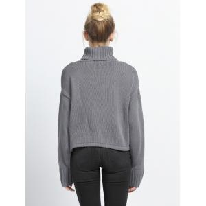 Pure Color Turtle Neck Ribbed Sweater -