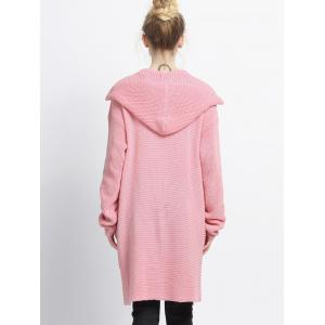 Pure Color Pocket Design Hooded Cardigan -