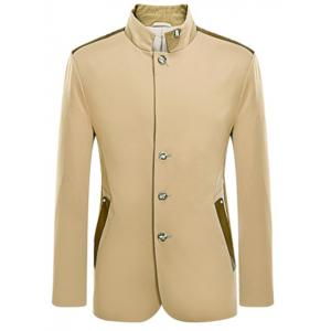 Stand Collar Single Breasted Leather Spliced Coat ODM Designer -