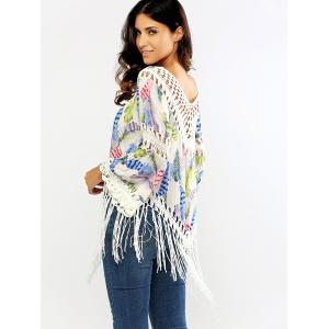 Openwork Feather Print Fringed Blouse -
