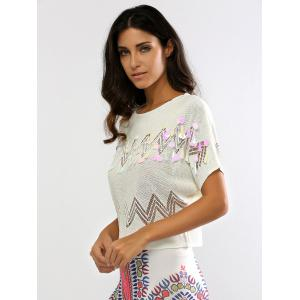 Sequined Openwork Knitted T-Shirt -