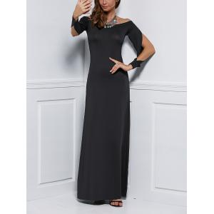 Off Shoulder Fitted Long Sleeve Maxi Formal  Evening Dress -