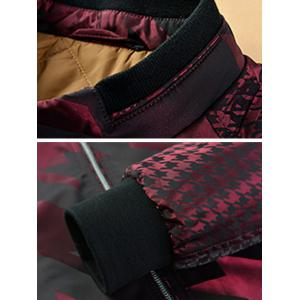 Houndstooth Pattern Zip Up Long Sleeve Padded Jacket ODM Designer - WINE RED 2XL