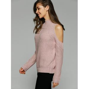 Warm Cold Shoulder Sweater - NUDE PINK ONE SIZE