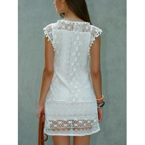Scoop Neck Sleeveless Lace Shift Mini Dress -