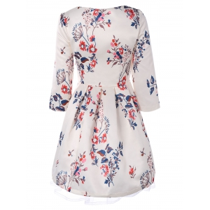 Retro Round Neck Floral Printed 3/4 Sleeve Fit and Flare Dress -