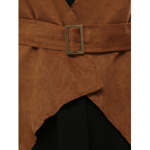 Fringed Belted Faux Suede Wrap Coat - BROWN L