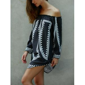 Off-The-Shoulder Printed Loose Fitting Dress -